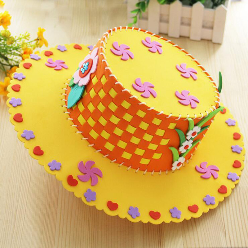 孩派 儿童diy手工制作 eva编织帽子 幼儿园儿童手工帽子 黄色