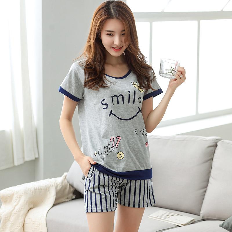 ��.d:-a:+�_短袖睡衣套装女休闲套装女夏天韩版卡通可爱加大码家居服d1032 a1705