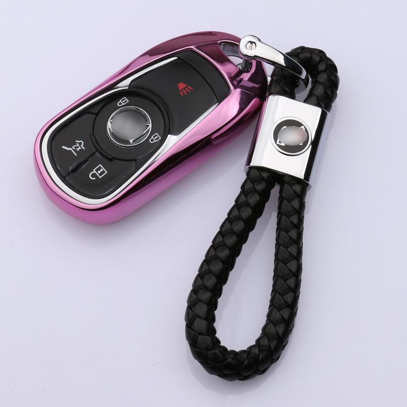 威朗 新君越专用智能钥匙包 钥匙壳 汽车钥匙扣 昂科威 可爱粉壳 手编
