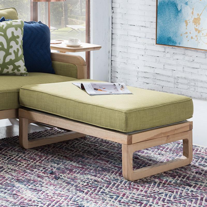 北欧白蜡木沙发 实木布艺沙发组合 客厅转角贵妃沙发 1 3原木色