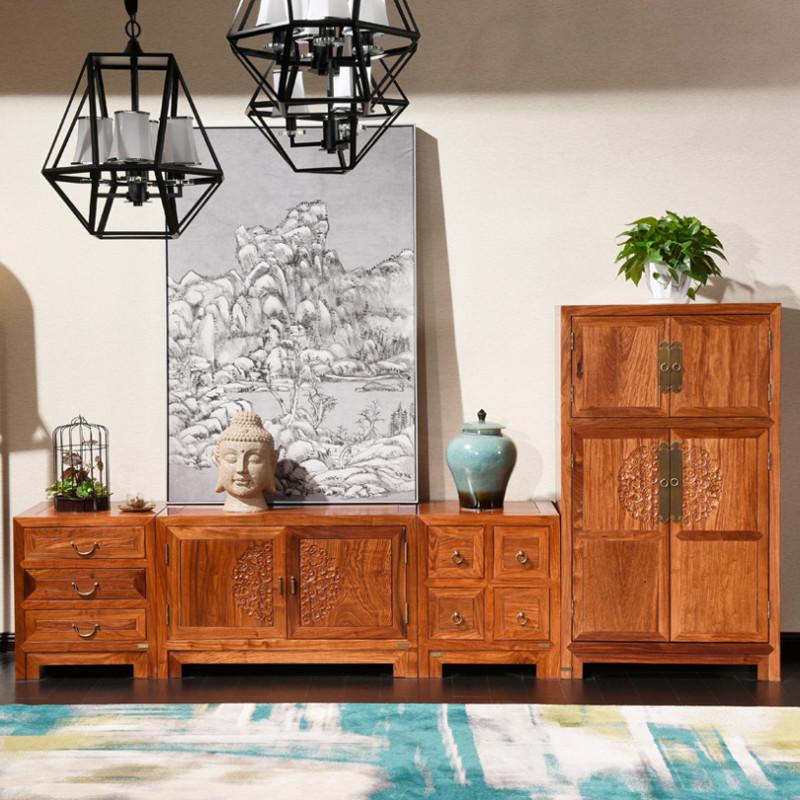 龙森家具 新中式红木电视柜刺猬紫檀组合客厅储物试听柜中式婚房家具