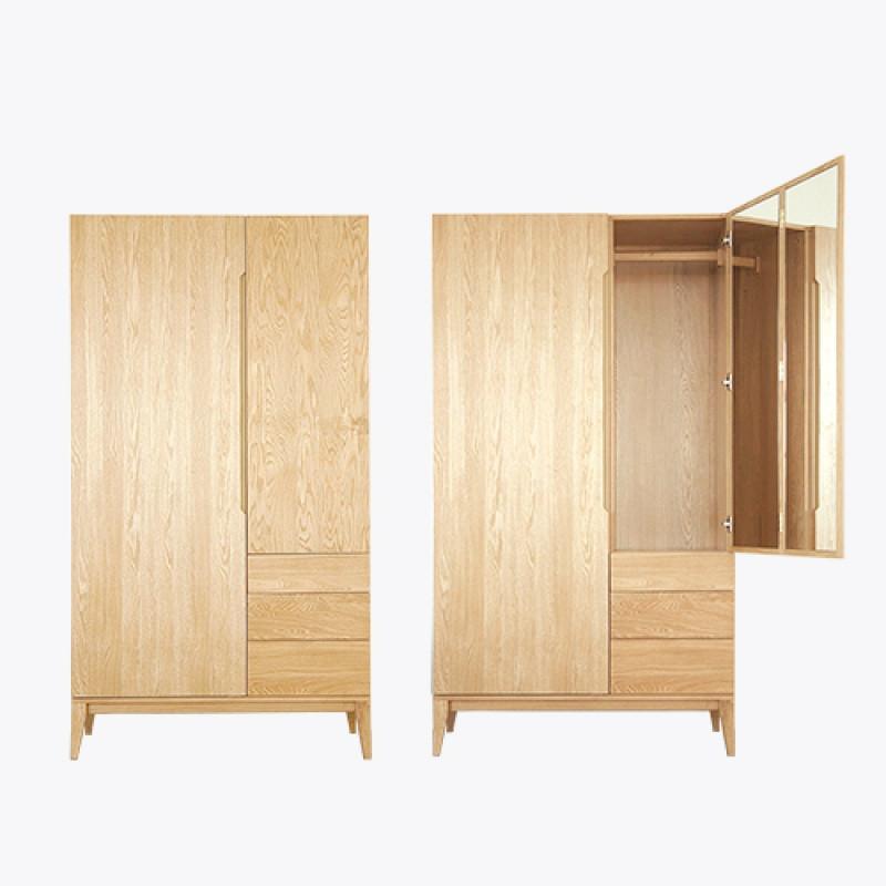 千住明吱音 全观大衣橱设计师实用卧室橡木实木衣柜2门带镜子中式储物