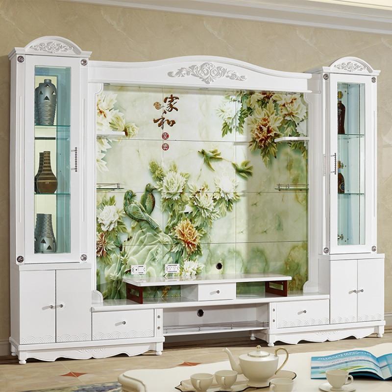 千住明大户型欧式客厅烤漆电视柜背景墙组合影视墙地柜现代电视酒柜