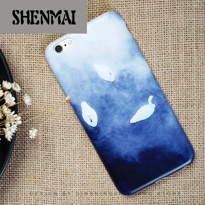 shm品牌原创简约文艺白天鹅水墨画苹果iphone6/6s plus手机壳磨砂全包