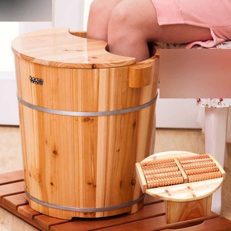 40cm高杉木泡脚木桶足浴桶洗脚盆木桶泡脚木盆节水型带盖多功能多色多