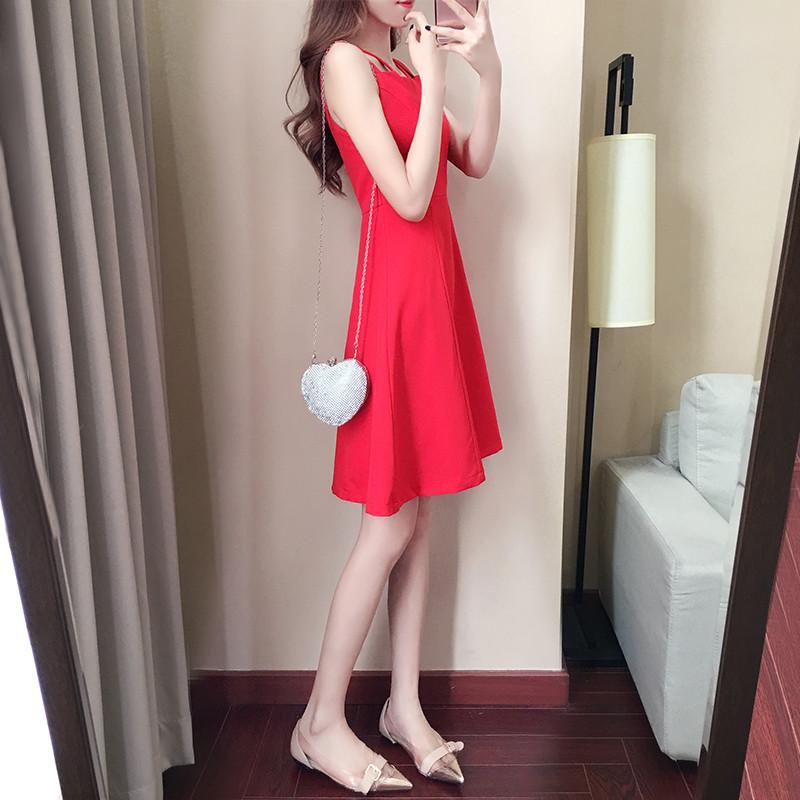 2017款】红裙子女2017新款少女心机大红裙性感露肩雪纺吊带裙 红色