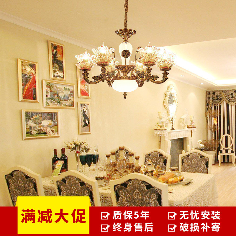 铜色餐厅卧室书房客厅吊灯 欧式个性创意茶楼包厢酒店工程会所灯具 8