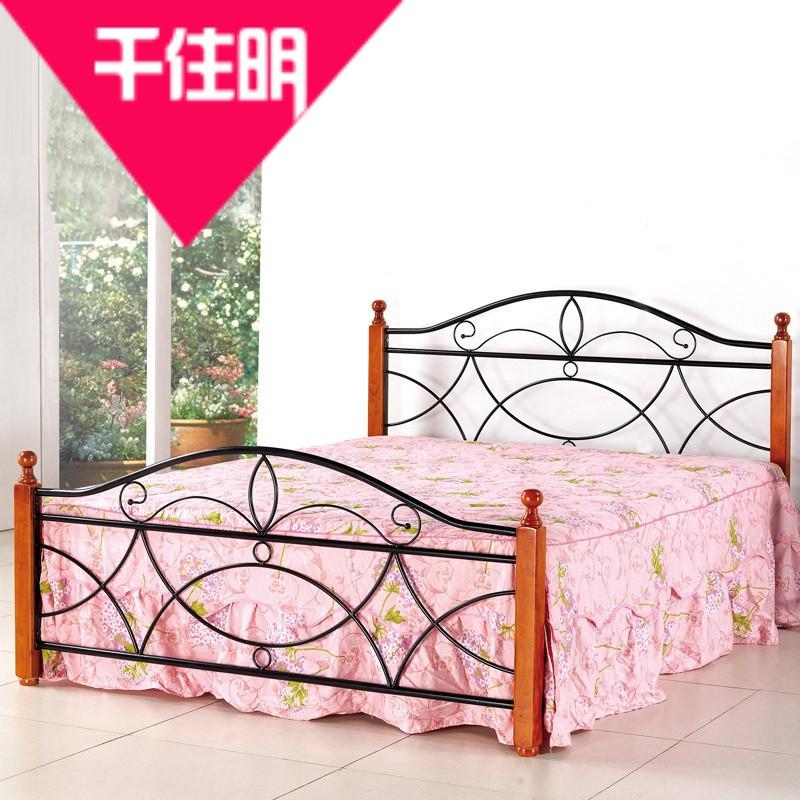 千住明现代简约时尚卧室钢木床家居床简易欧式乡村高床尾单层双人床家