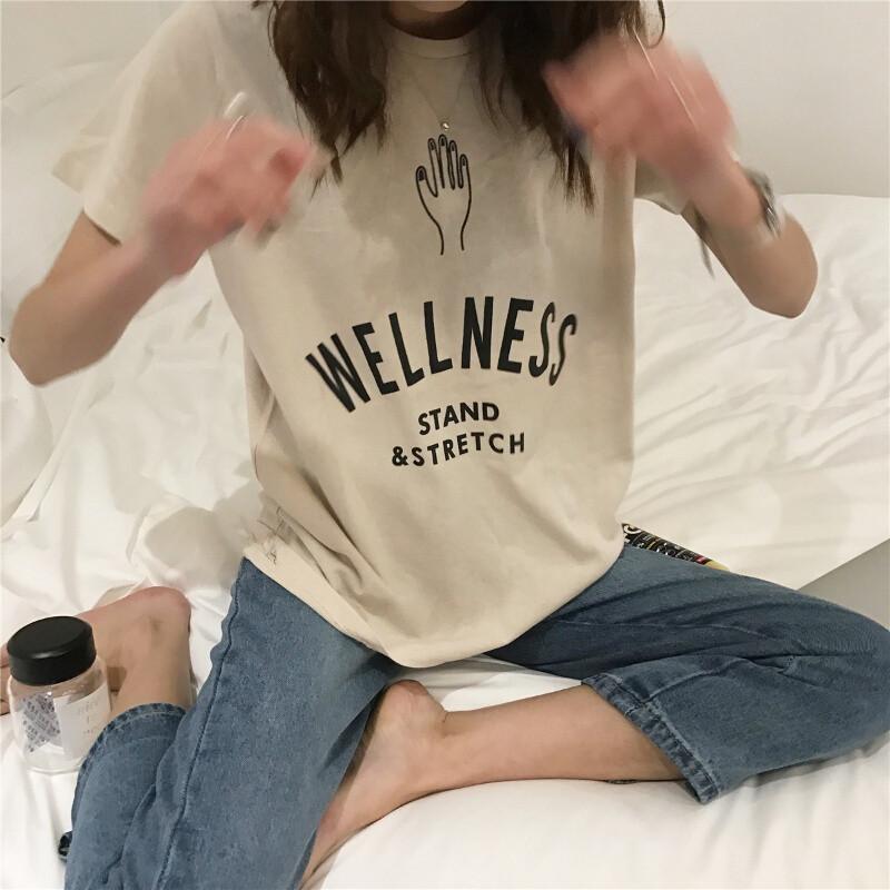 opzc可爱学院风韩版宽松字母印花手掌头像圆领短袖t恤学生上衣打底衫