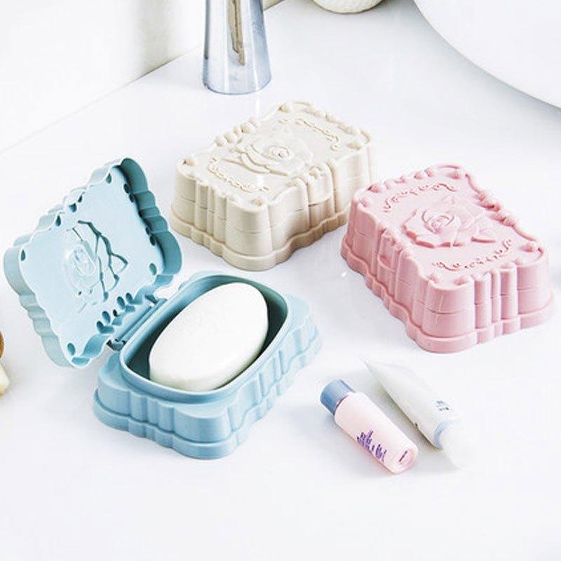 玫瑰雕花肥皂香皂盒盒浴室卫生间沥水创意带盖手工塑料皂托立式体大