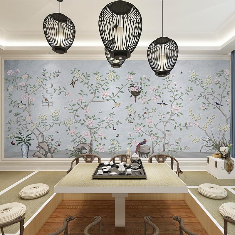 卡茵中式复古客厅电视背景墙壁纸定制墙绘手绘壁画书房壁布影视墙墙纸