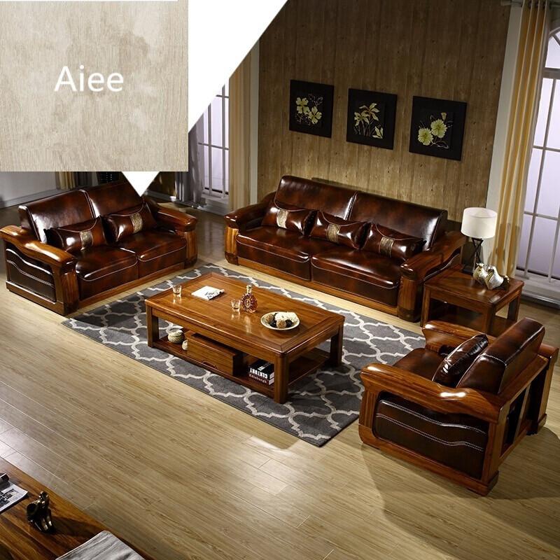aiee中式实木真皮沙发组合客厅实木家具乌金木沙发乌金木皮沙发中式