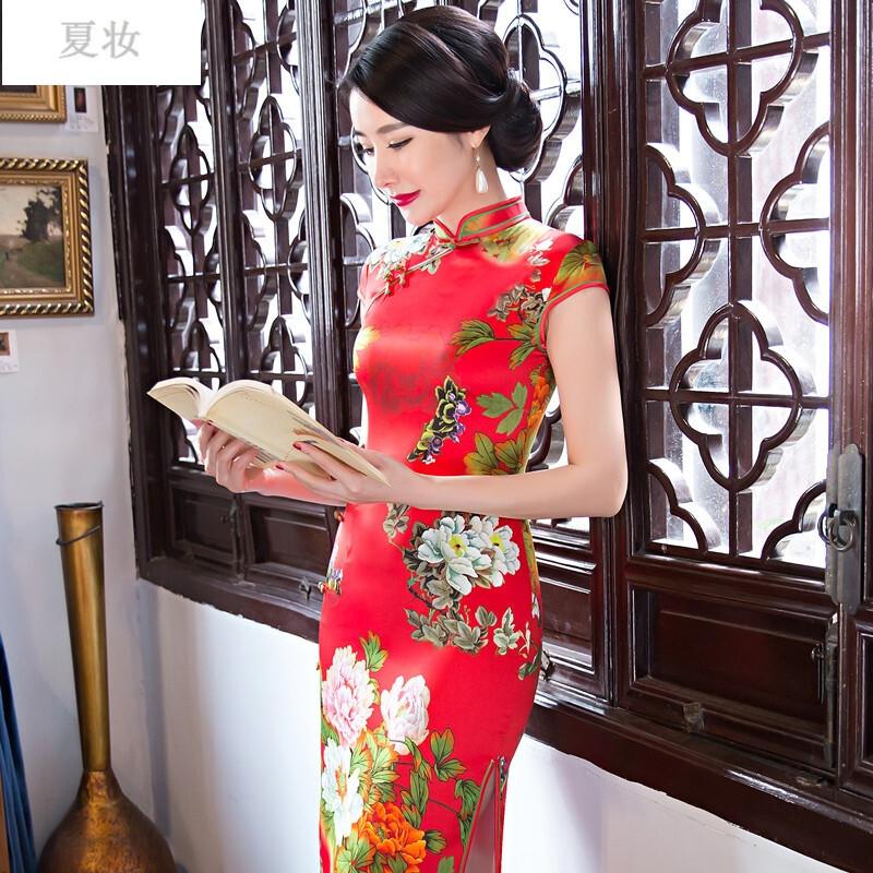 夏妆新款丝绸旗袍长款大码日常复古改良民国连衣裙女年会礼服显瘦 s