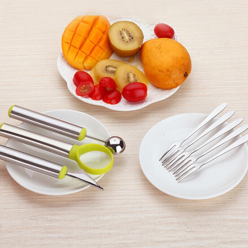 纳丽雅雕花勺三件套切西瓜神器水果雕花刀去囊勺子哈密瓜拼盘勺不锈钢