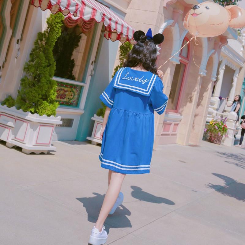 新款宋黛日系学院海军风短袖学生夏原宿少女可爱萌软妹水手服连衣裙_1