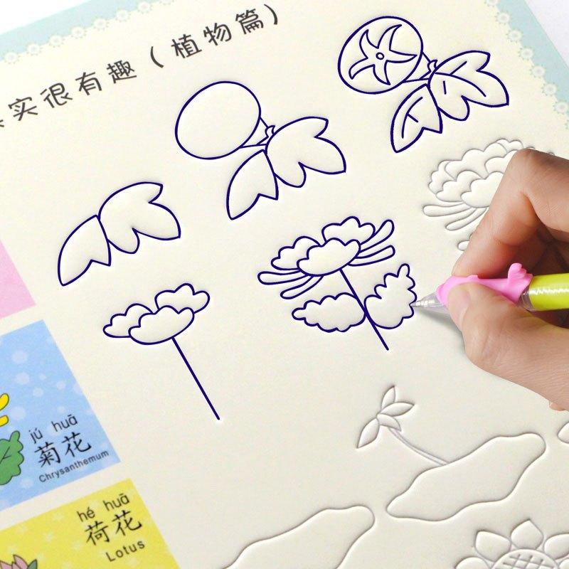 幼儿园描红本简笔画儿童画画本涂色本宝宝绘画书初学者凹槽练字帖当季