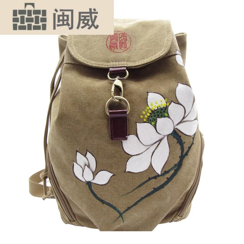 简约民族风背包手绘复古风包包双肩包女帆布包女包中国风旅游包黑色