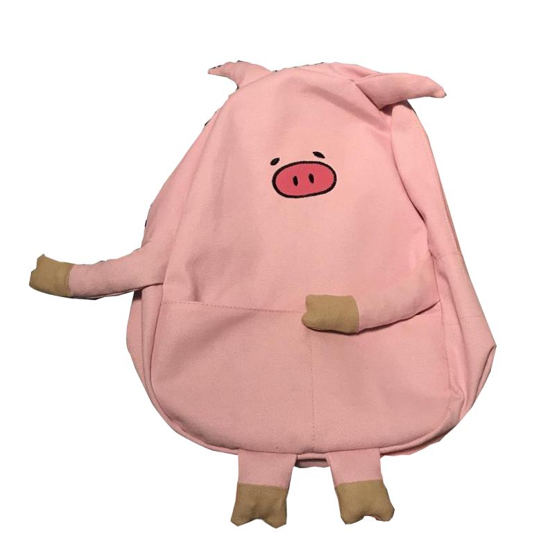 828新款三只小猪超呆萌可爱小猪pig造型帆布街拍软妹学生书包双肩背包