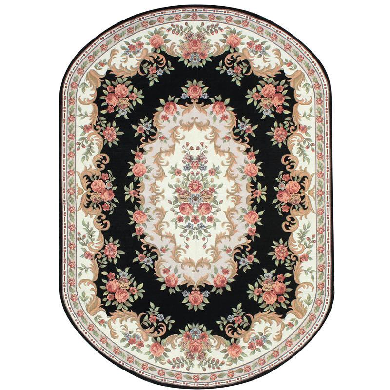 doxa欧式乡村美式客厅地毯椭圆形餐桌餐厅地毯卧室床尾床边可机洗椭圆