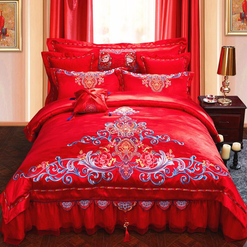 欧式新婚庆四件套结婚房婚礼大红被套纯棉床单刺绣六件套床上用品_1