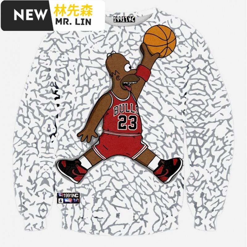 潮流男装3d立体篮球星印花哈登詹姆斯nba科比卫衣长袖学生外套男士