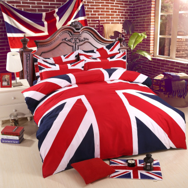 米字旗四件套英伦风英国国旗床单被套美式磨毛1.5m1.8m床上用品 2.