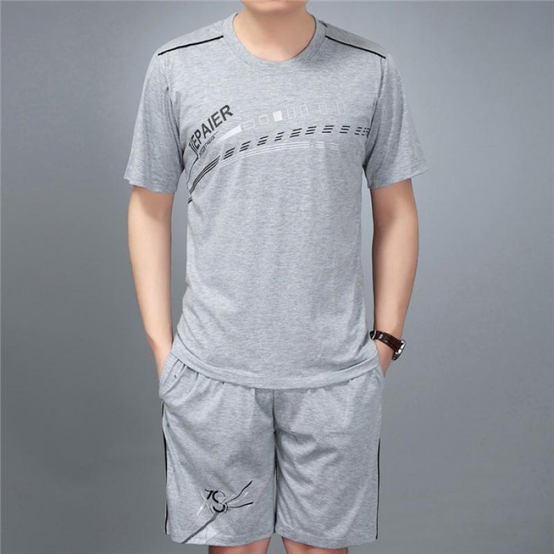 新款中老年男装短袖t恤短裤2017夏季爸爸大码跑步篮球服男士运动套装