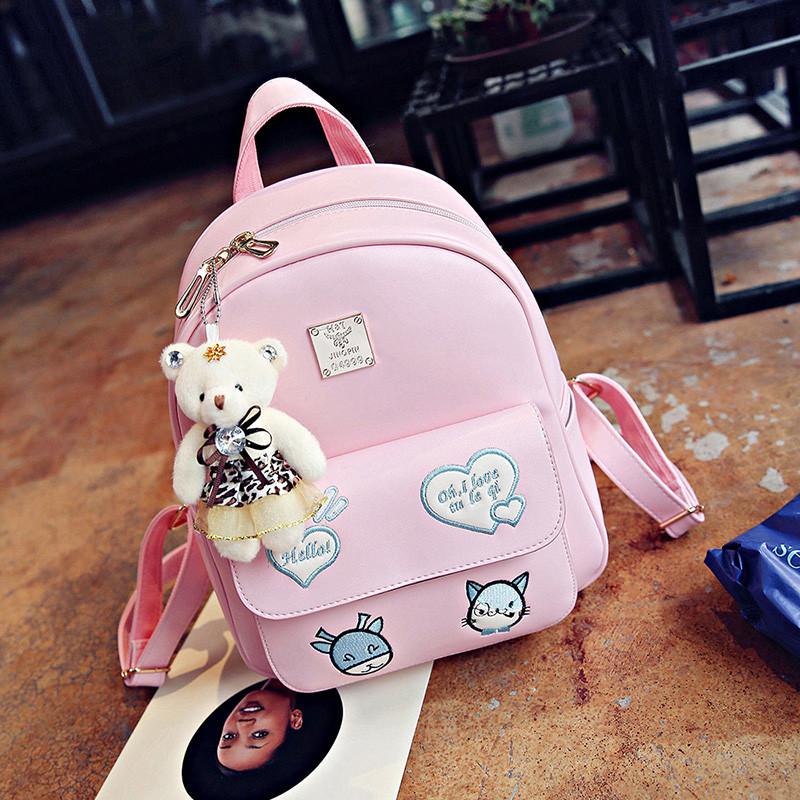 新款女大童休闲旅游背包可爱女孩少女双肩包女童初中小学生书包女皮包