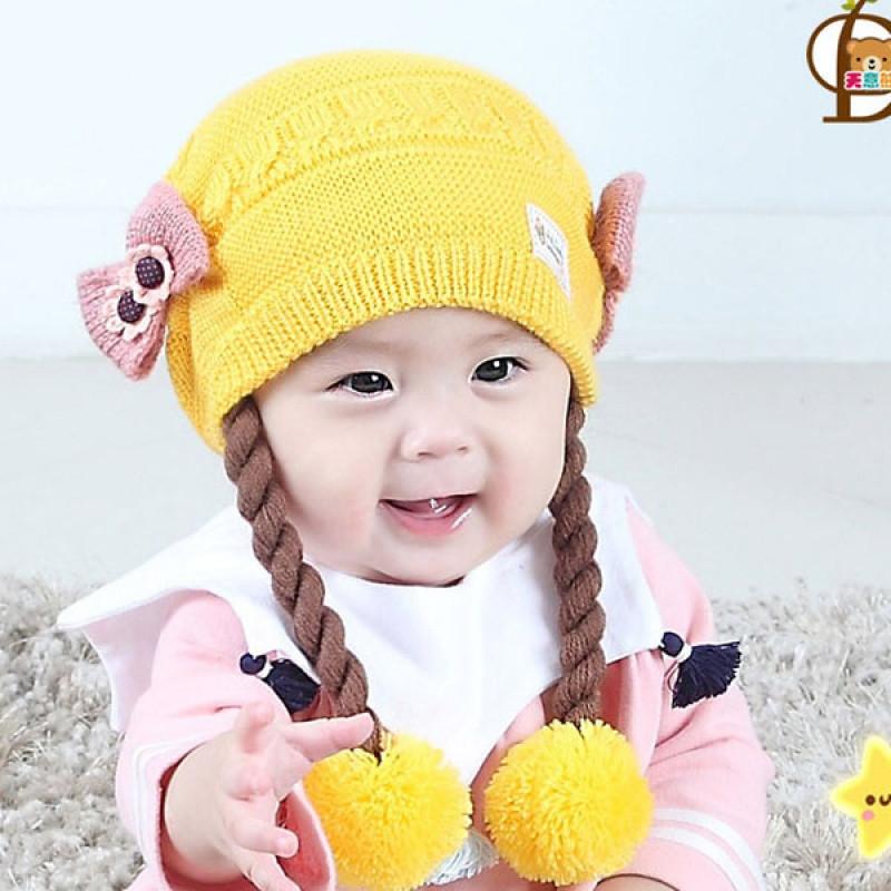 婴儿假发帽秋冬6-12月女宝宝帽子公主毛线帽围巾0-1岁小女孩帽子 钮扣