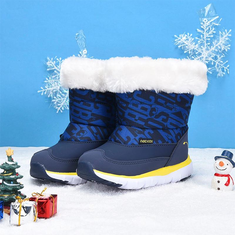 abckids男童靴子2017冬季新款儿童加绒棉鞋保暖小孩黑色短靴防滑 深藏