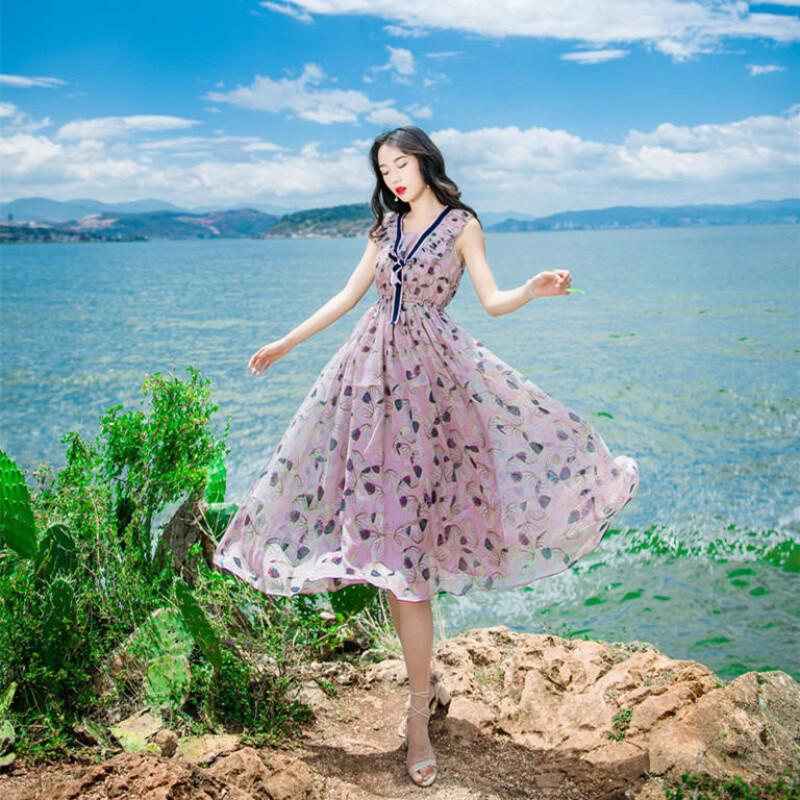 迪丽热巴明星同款复古文艺紫色碎花v领连衣裙仙女气质森系显瘦l5 s 花
