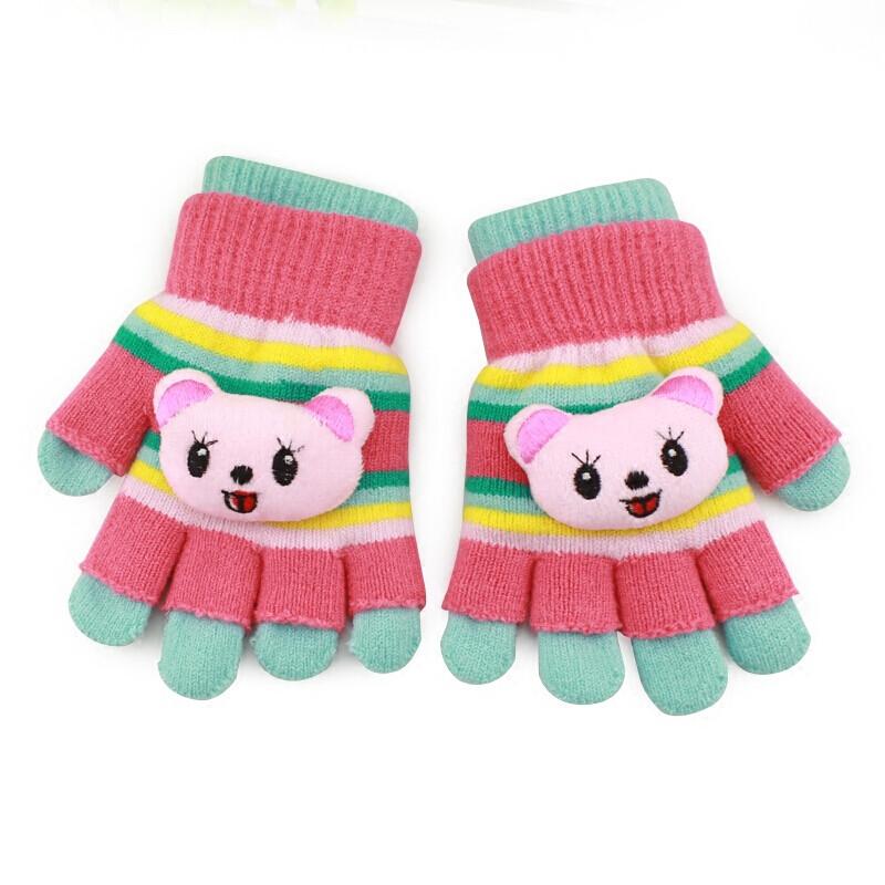 儿童手套冬半指宝宝五指保暖女童可爱卡通男孩幼儿小学生露指两用 两