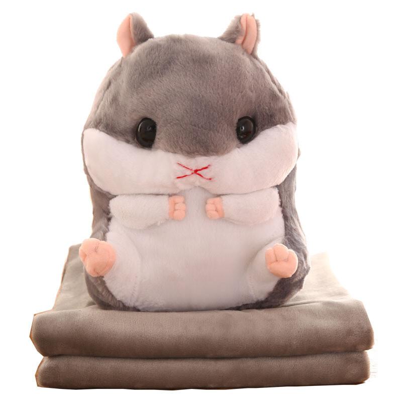 可爱仓鼠抱枕被子两用毛绒玩具多功能公仔办公室午休毯子枕头靠垫仓鼠