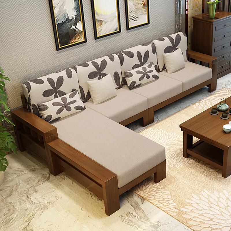 匠辰沙发实木沙发布艺沙发小户型双人沙发简约现代新中式三人位贵妃