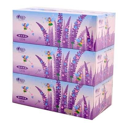 心相印120抽薰衣草盒装面巾纸 3盒图片