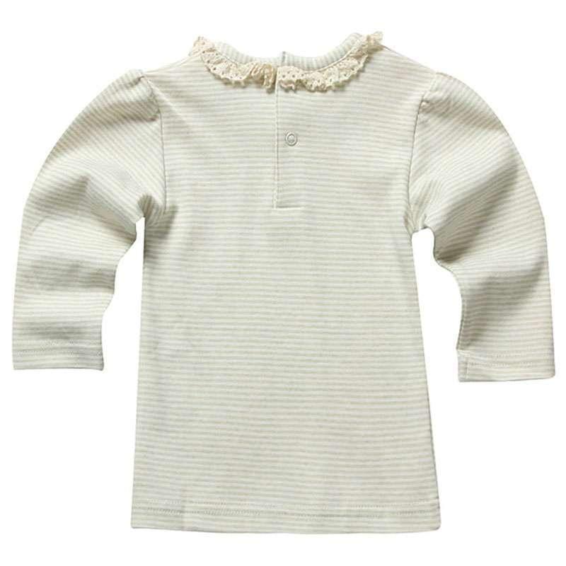 occhome蛋生彩棉系列绿白条纹长袖圆领花边t恤衫bwcu03l01c21100573