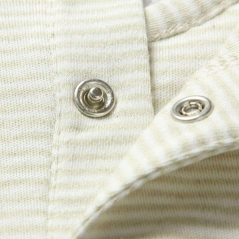 occhome蛋生彩棉系列绿白条纹长袖圆领花边t恤衫bwcu