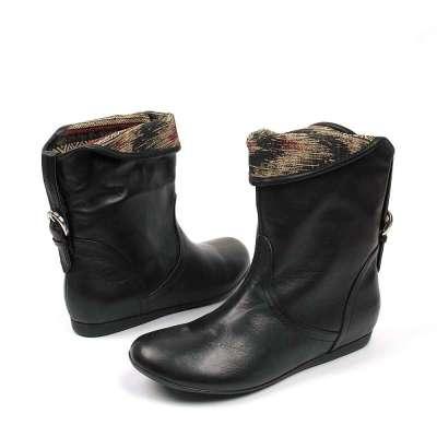 tata/他她2012年冬季黑色小牛皮女皮靴fto05d黑色38