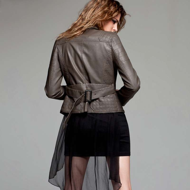 七格格 女装otherfaith新款pu皮衣修身拉链女外套夹克