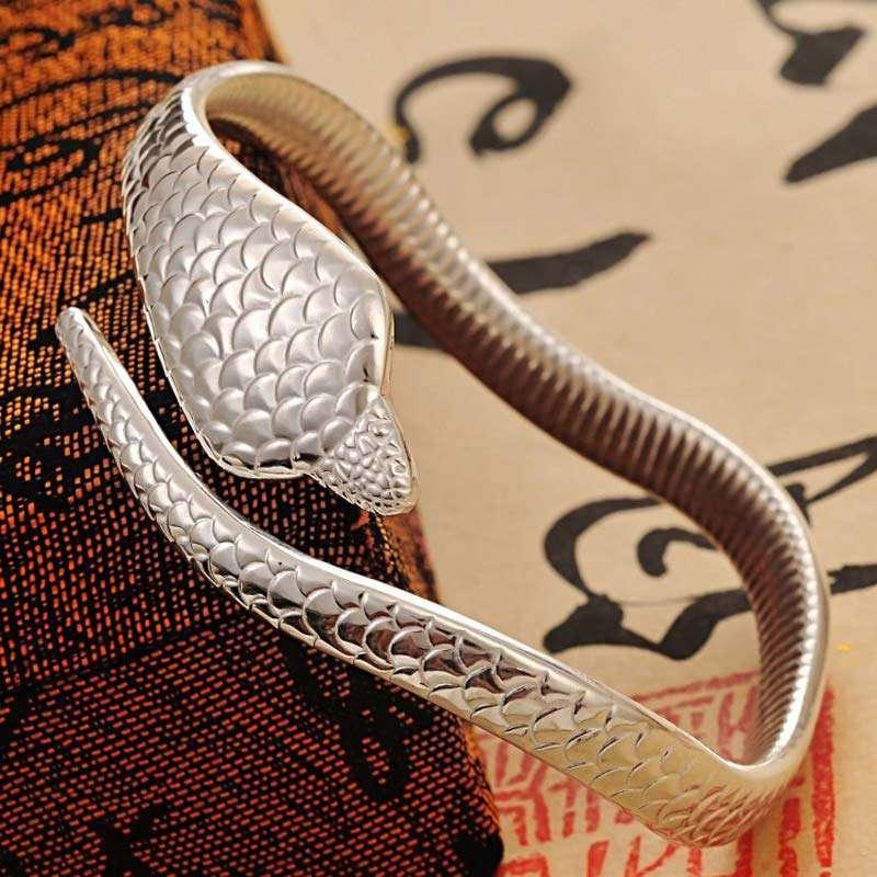 宝萃银楼 s999千足银 蛇形手镯手环 眼镜蛇银镯子36g