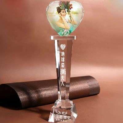 芷墨diy创意水晶心形奖杯/个性定制照片情人节生日送
