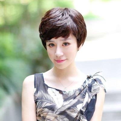 玫瑰雨女士中老年真发短卷发 假发短发女蓬蓬层次发型图片