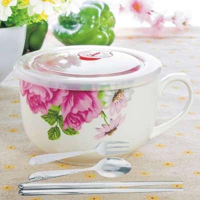 创意生日礼物陶瓷日式餐具大号汤碗带盖泡面碗杯可爱卡通情侣对碗 红
