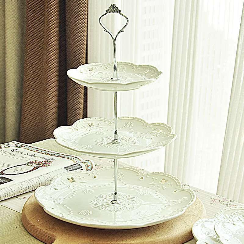 出口欧式餐具奶白浮雕双层三层陶瓷器水果盘子蛋糕盘