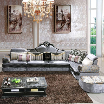 【俏夫人】俏夫人 新款欧式风格组合布艺沙发