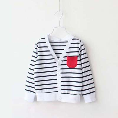 贝尔兰春季新款童装 韩版男童条纹外套儿童开