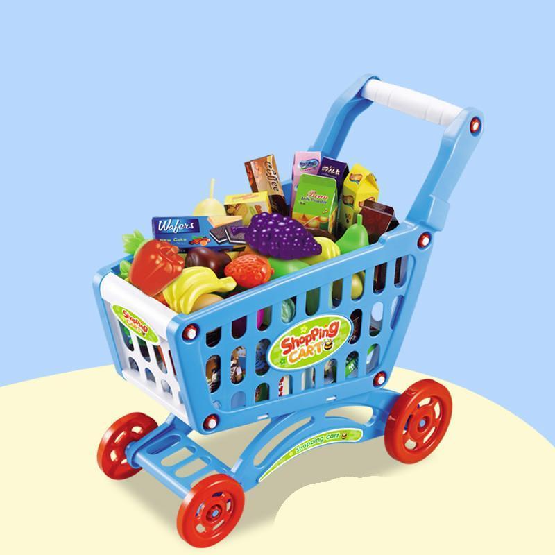 加厚仿真超市购物车2色儿童过家家手推车玩具