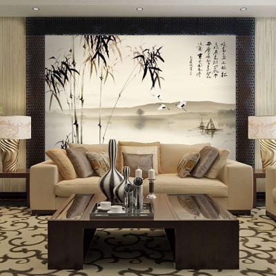 中式壁画 竹子牡丹 zy86002客厅电视书房背景墙壁纸