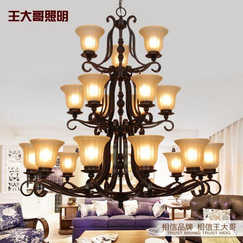 王大哥照明欧式吊灯美式铁艺灯具客厅吊灯餐厅别墅