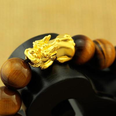 金地珠宝999千足金虎眼石 金貔貅手串 手链 王者